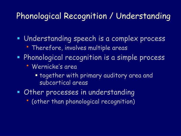 Phonological Recognition / Understanding