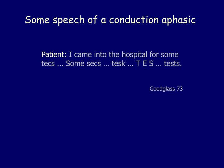 Some speech of a conduction aphasic
