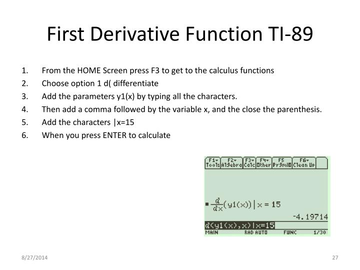 First Derivative Function TI-89