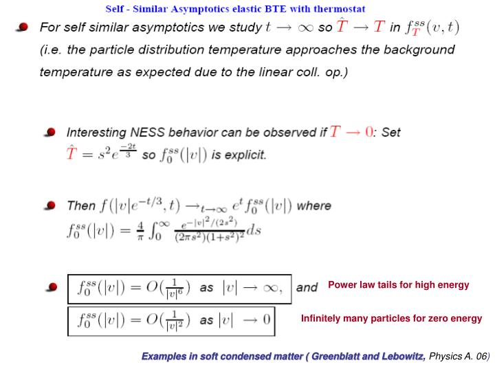 Power law tails for high energy