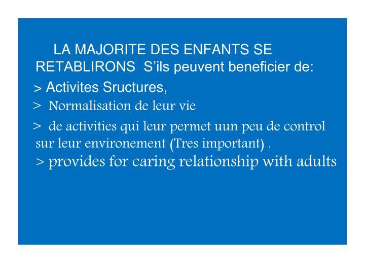 LA MAJORITE DES ENFANTS SE RETABLIRONS  S'ils peuvent beneficier de: