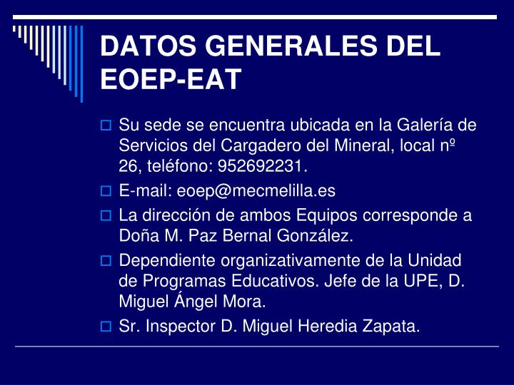Datos generales del eoep eat