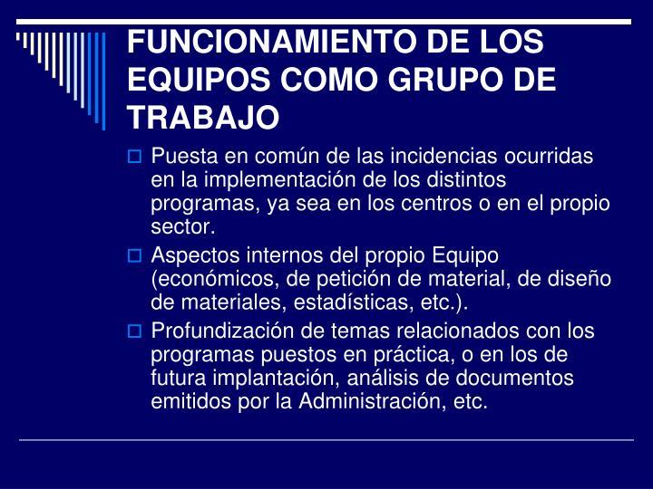 FUNCIONAMIENTO DE LOS EQUIPOS COMO GRUPO DE TRABAJO