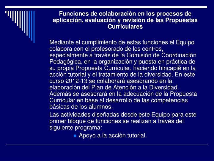 Funciones de colaboración en los procesos de aplicación, evaluación y revisión de las Propuestas Curriculares