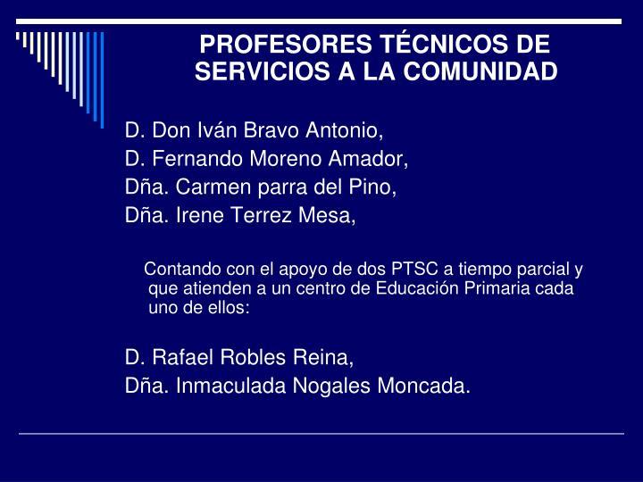 PROFESORES TÉCNICOS DE SERVICIOS A LA COMUNIDAD