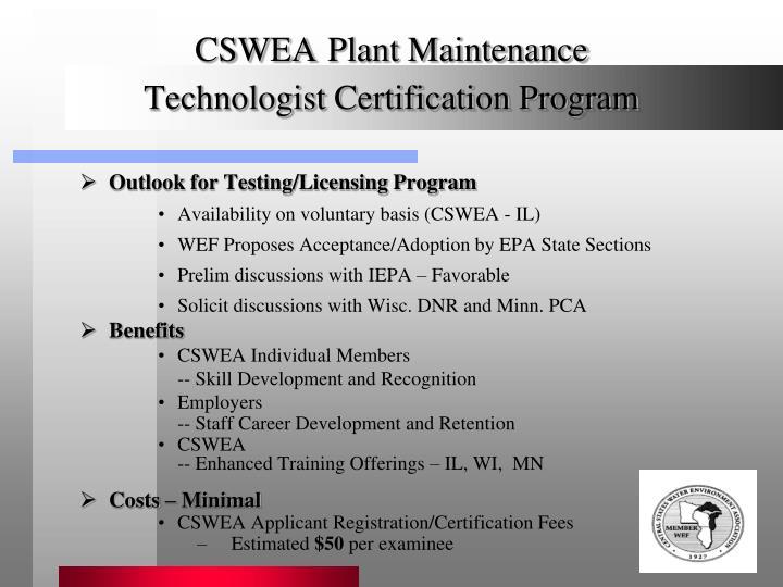 PPT - CSWEA Plant Maintenance Technologist Certification Program ...