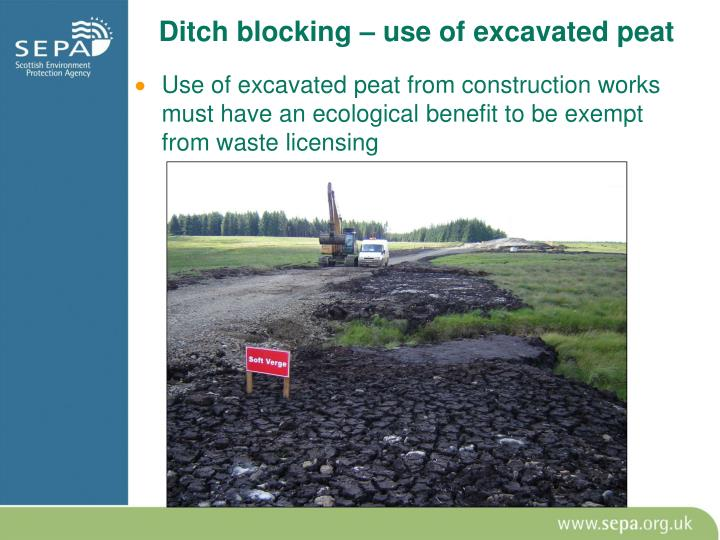 Ditch blocking – use of excavated peat