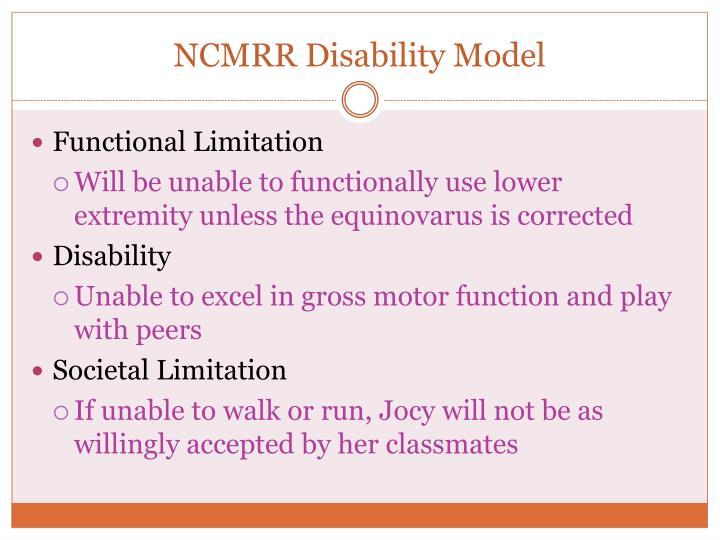 NCMRR Disability Model