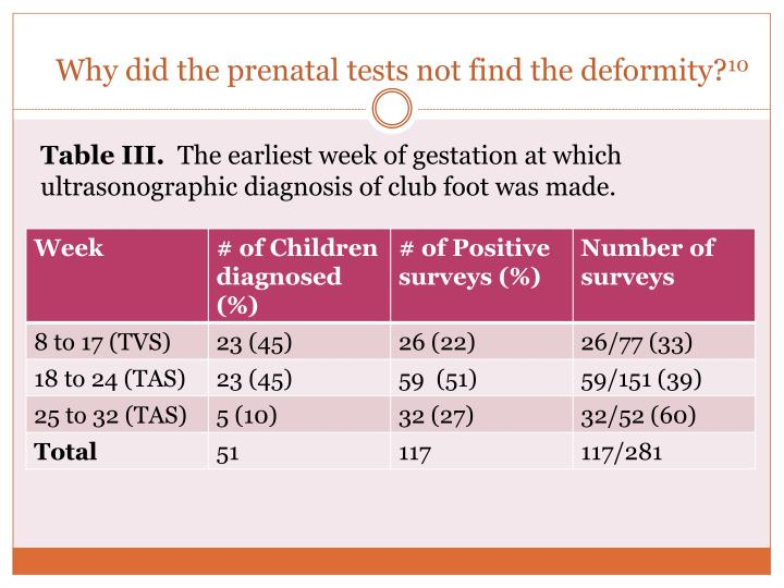 Why did the prenatal tests not find the deformity?