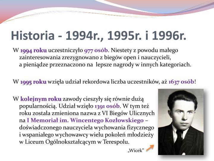 Historia - 1994r., 1995r. i 1996r.