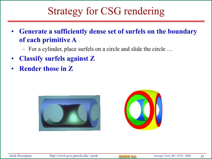 Generate a sufficiently dense set of surfels on the boundary of each primitive A