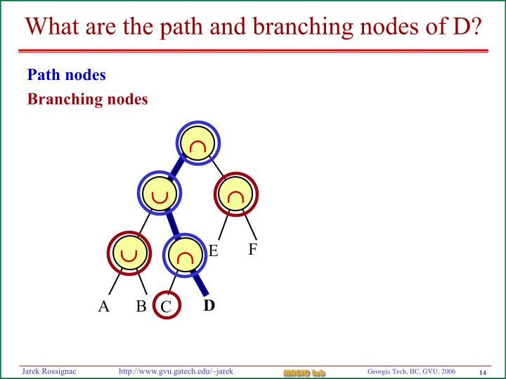What are the path and branching nodes of D?
