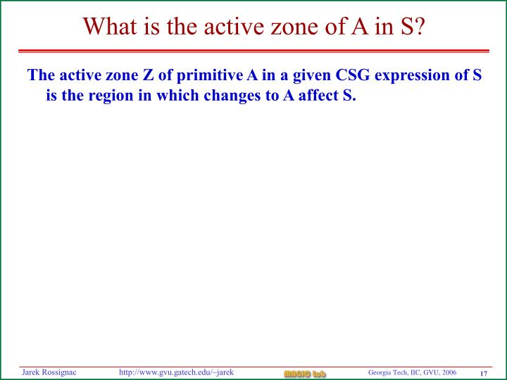 What is the active zone of A in S?