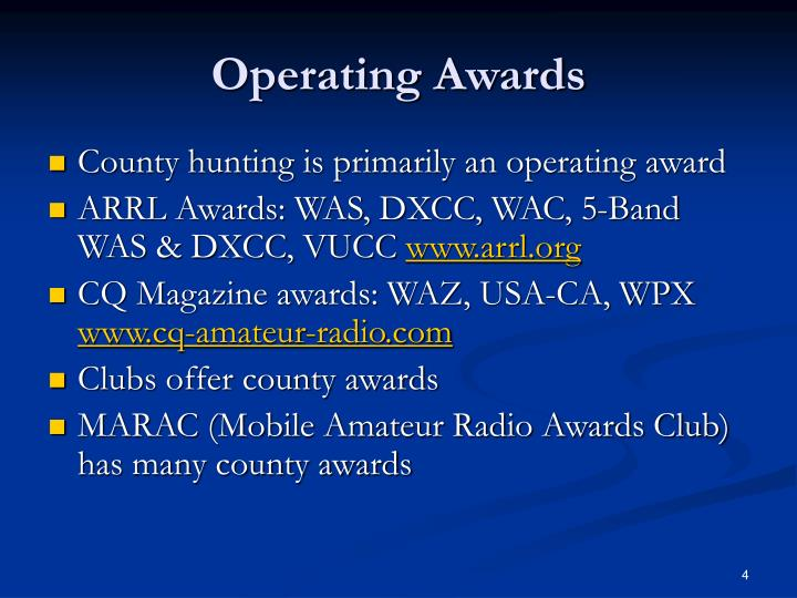 Operating Awards