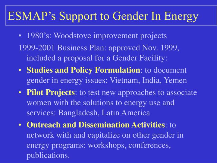 ESMAP's Support to Gender In Energy