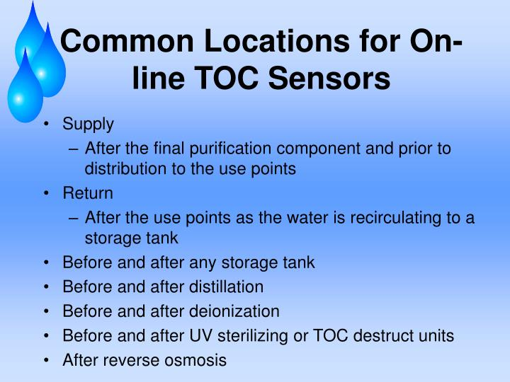 Common Locations for On-line TOC Sensors