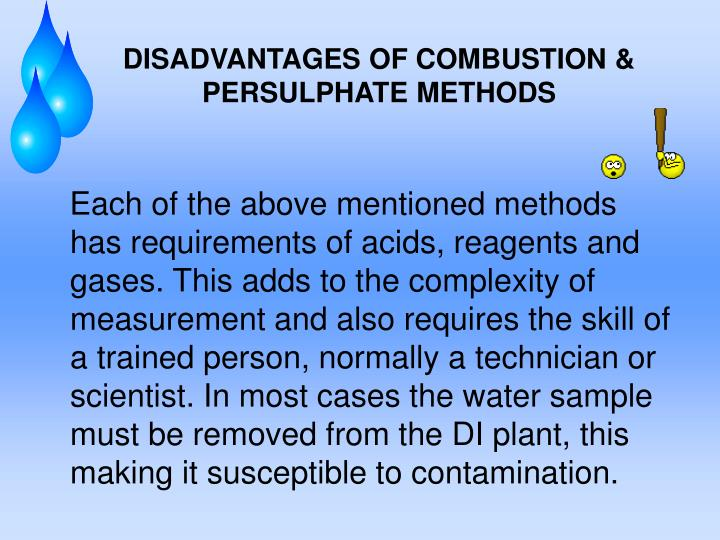 DISADVANTAGES OF COMBUSTION & PERSULPHATE METHODS