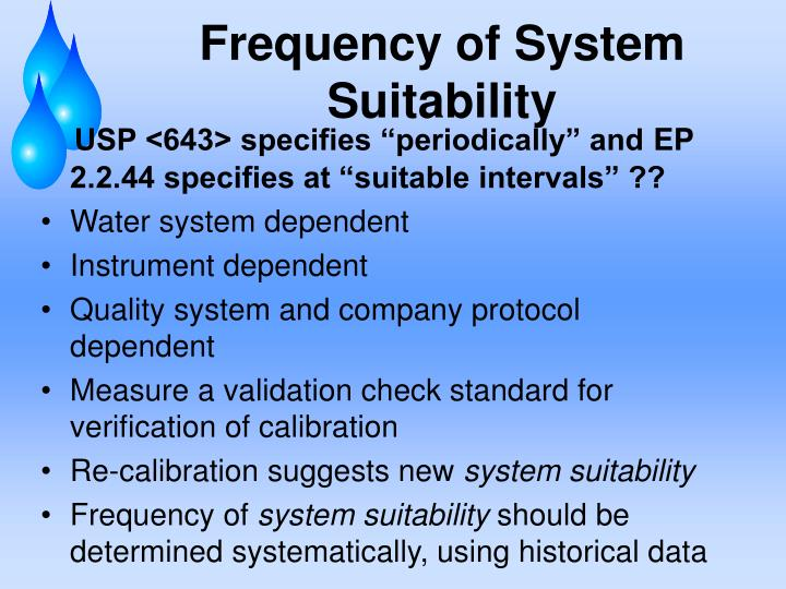 Frequency of System Suitability