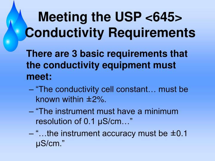 Meeting the USP <645> Conductivity Requirements