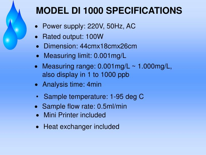 MODEL DI 1000 SPECIFICATIONS