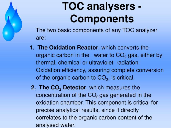 TOC analysers -Components