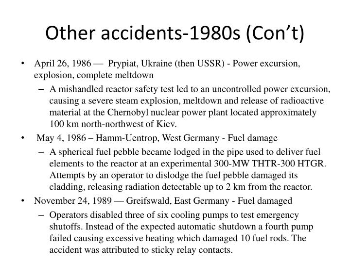 Other accidents-1980s (Con't)