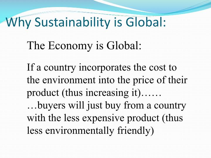 Why Sustainability is Global: