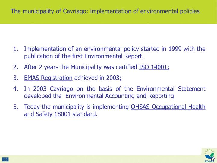 The municipality of Cavriago: implementation of environmental policies