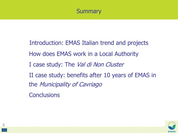 Introduction: EMAS Italian trend and projects