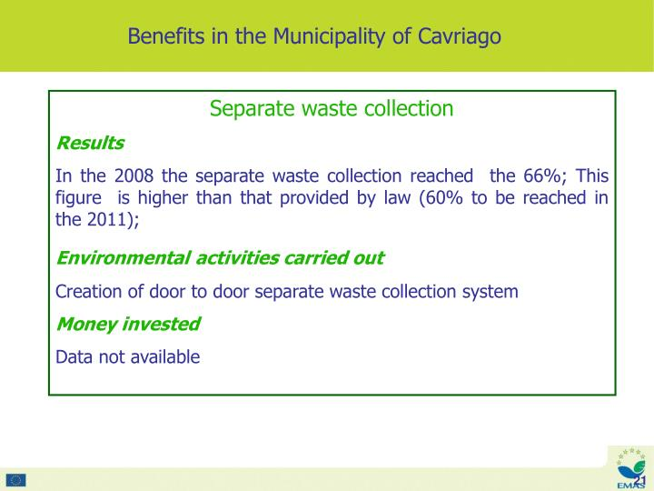Benefits in the Municipality of Cavriago
