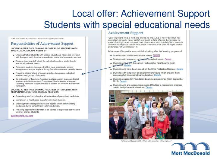 Local offer: Achievement Support