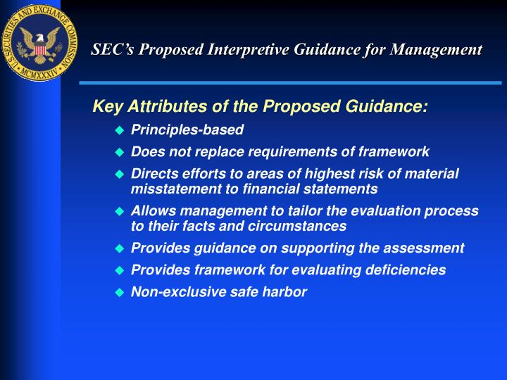 SEC's Proposed Interpretive Guidance for Management