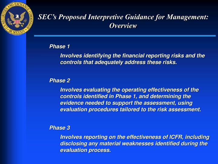 SEC's Proposed Interpretive Guidance for Management: