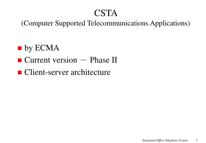 Csta computer supported telecommunications applications