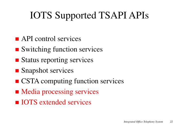 IOTS Supported TSAPI APIs