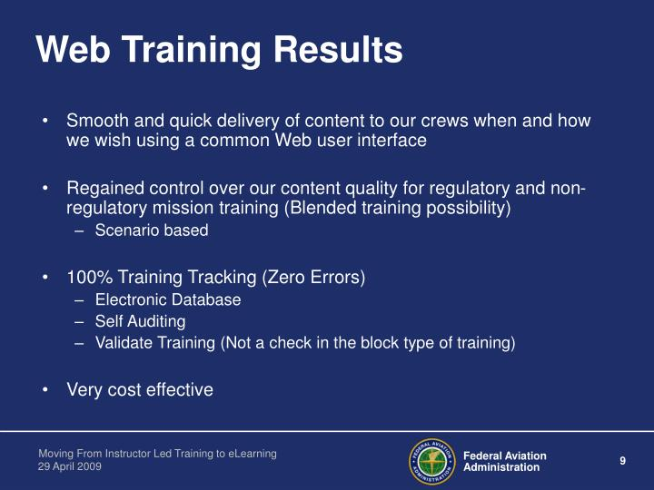 Web Training Results