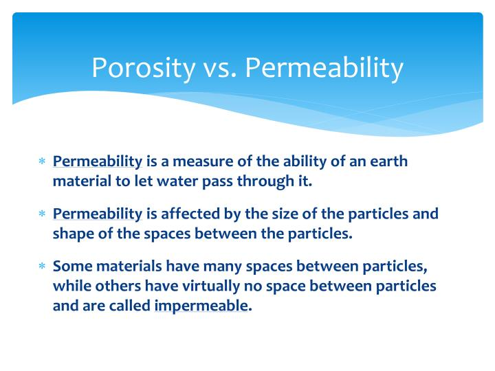 porosity versus permeability essay Rock physics in the laboratory: quick links ☰ terms of use / disclaimer pay shareware fee handbook index / site map.