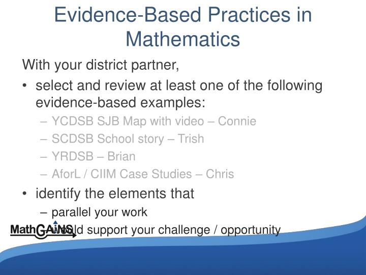 Evidence-Based Practices in Mathematics