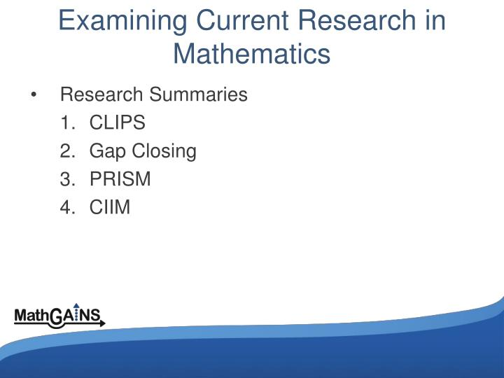 Examining Current Research in Mathematics