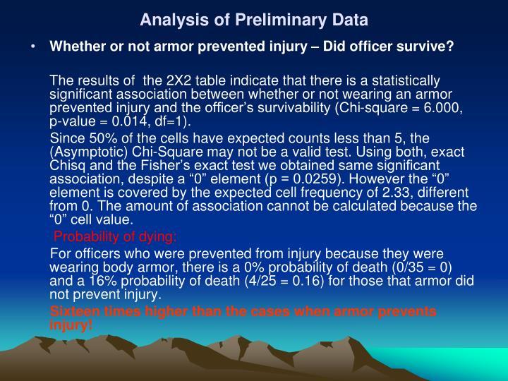 Analysis of Preliminary Data