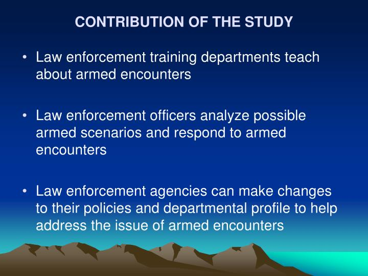 CONTRIBUTION OF THE STUDY
