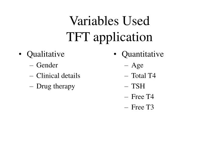 Variables used tft application