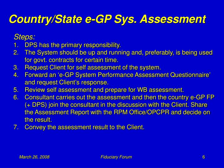 Country/State e-GP Sys. Assessment