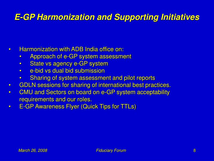 E-GP Harmonization and Supporting Initiatives