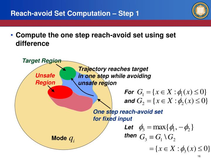 Reach-avoid Set Computation – Step 1