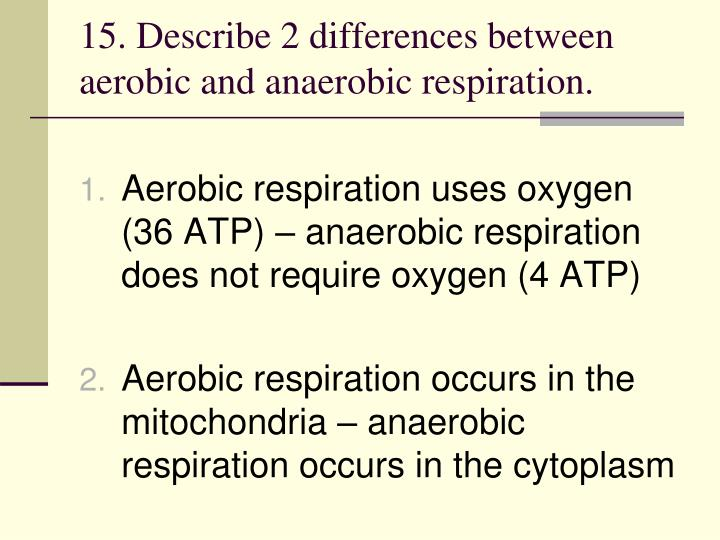 15. Describe 2 differences between aerobic and anaerobic respiration.