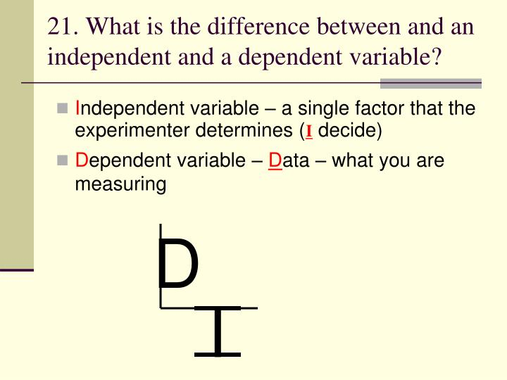 21. What is the difference between and an independent and a dependent variable?