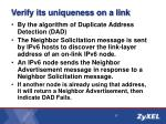 verify its uniqueness on a link