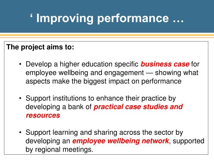 ' Improving performance …