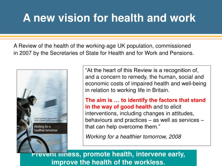 A new vision for health and work